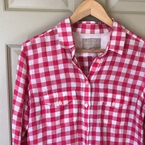 Banana Republic Soft Wash Linen Shirt Pink Gingham